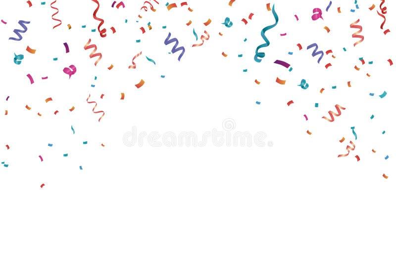 Fond de cadre de célébration de confettis Horizontal, anniversaire illustration de vecteur