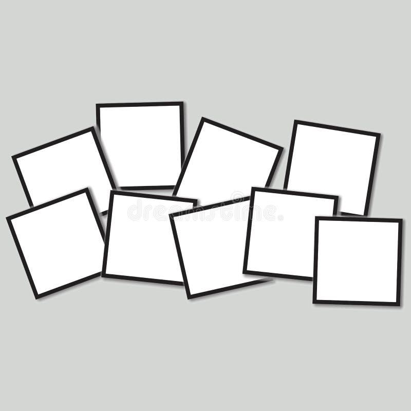 Fond de cadre de photo, illustration de vecteur placez des cadres de photo sur un fond noir illustration libre de droits