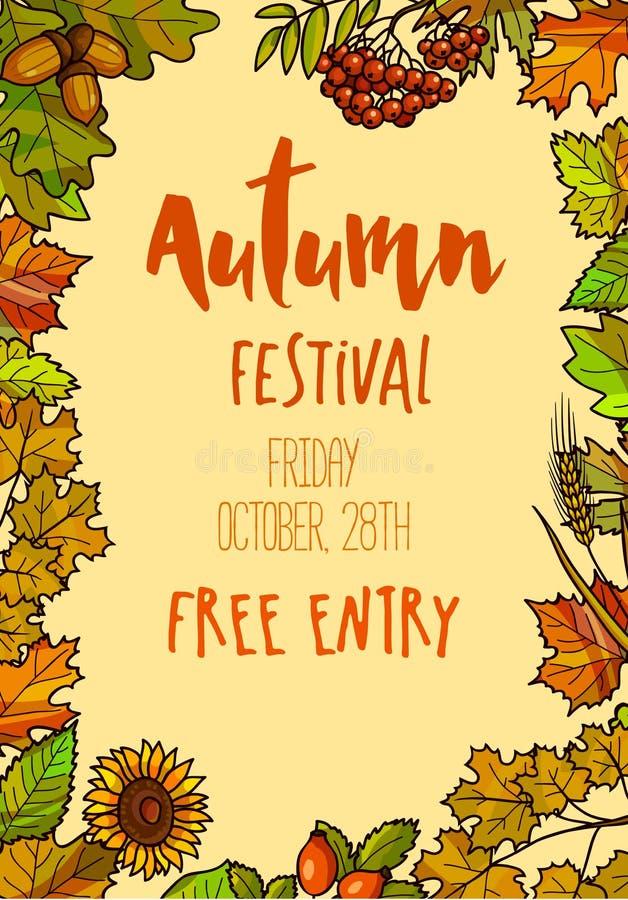 Fond de calibre d'Autumn Fall Festival illustration de vecteur