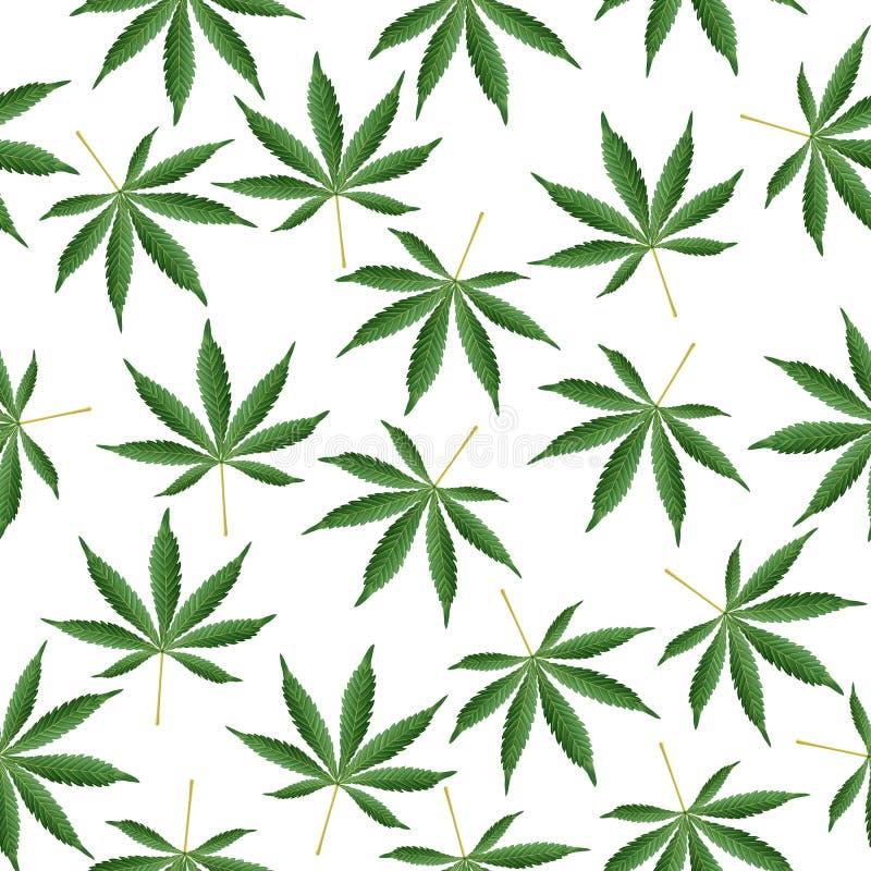 Fond de cannabis Le chanvre de mauvaise herbe de Ganja de marijuana pousse des feuilles modèle sans couture de vecteur illustration stock