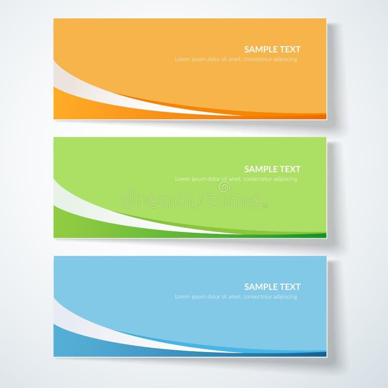 Fond de carte avec les lignes onduleuses abstraites lignes incurvées vertes bleues d'orange sur les annonces créatives colorées d illustration de vecteur