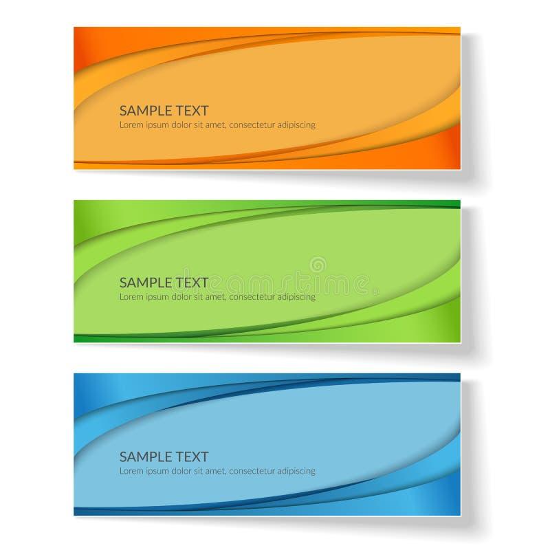 Fond de carte avec les lignes onduleuses abstraites lignes incurvées vertes bleues d'orange sur les annonces créatives colorées d illustration libre de droits