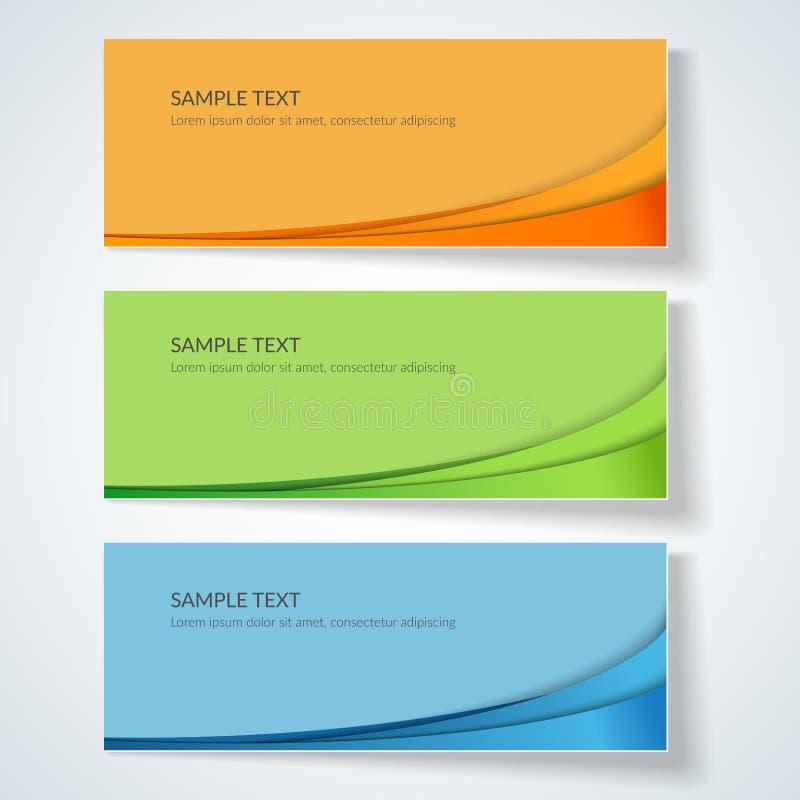 Fond de carte avec les lignes onduleuses abstraites lignes incurvées vertes bleues d'orange sur les annonces créatives colorées d illustration stock