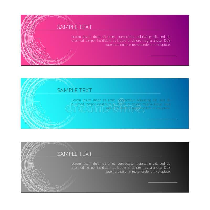 Fond de carte avec les lignes radiales abstraites de cercle lignes de technologie sur un design de carte créatif gris bleu pourpr illustration libre de droits