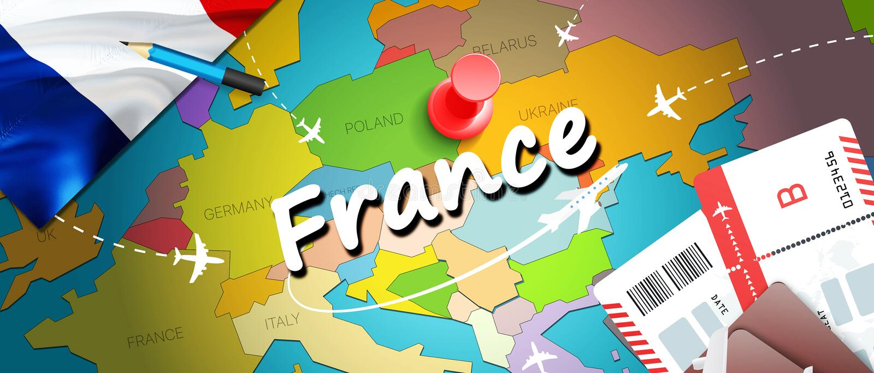 Fond de carte de concept de voyage de la France avec des avions, billets Voyage de la France de visite et concept de destination  illustration de vecteur