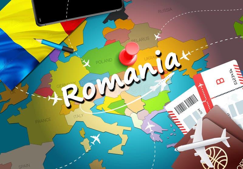 Fond de carte de concept de voyage de la Roumanie avec des avions, billets Voyage de la Roumanie de visite et concept de destinat illustration libre de droits