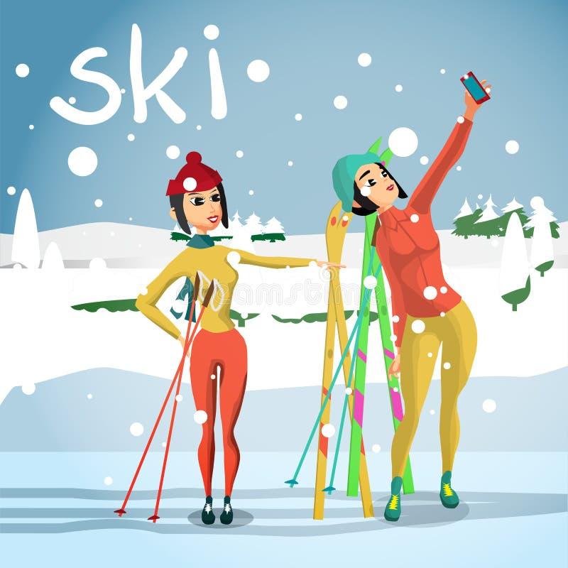 Fond de carte d'hiver Voie de descente de ski, jeune femme photographiée illustration de vecteur