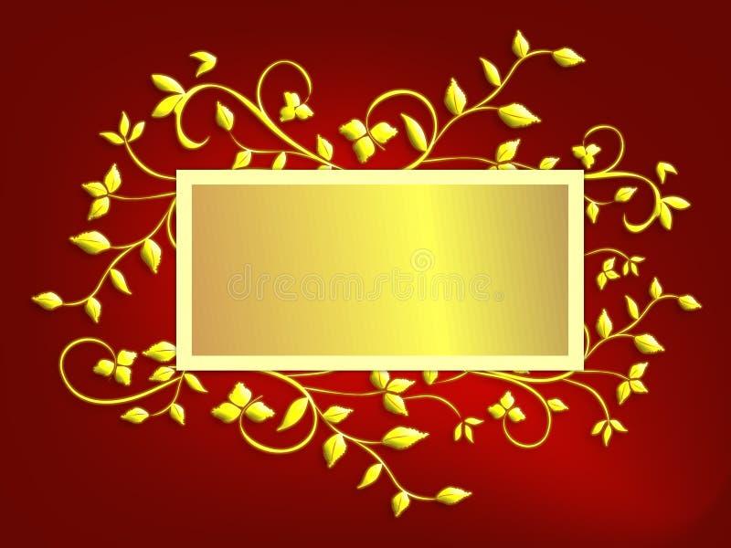Fond de carte de Noël - rouge et or illustration de vecteur