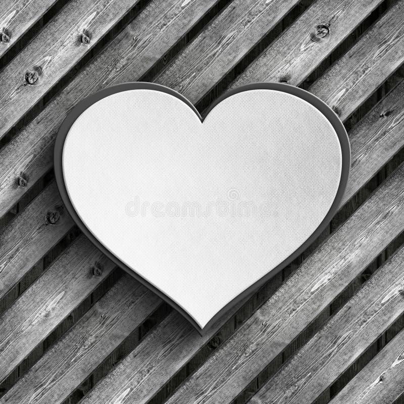 Fond de carte de Saint-Valentin - coeur sur les planches en bois illustration stock