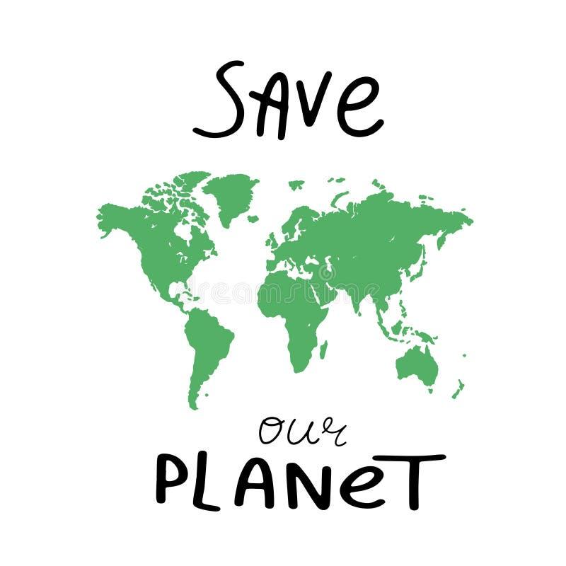 Fond de carte du monde Illustration grunge de carte du monde de silhouettes Carte vide verte du monde de vecteur Sauf notre planè illustration libre de droits