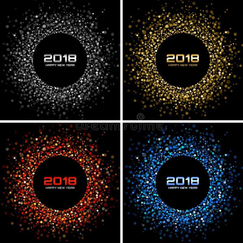 Fond de carte de la bonne année 2018 de vecteur La disco légère argentée allume le cadre tramé de cercle illustration libre de droits