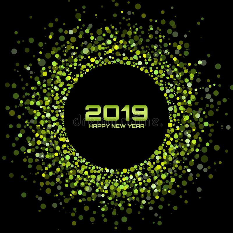 Fond de carte de la nouvelle année 2019 Vacances de Noël Cadre de vacances de cercle de confettis Parti Vert Illustration de vect illustration libre de droits