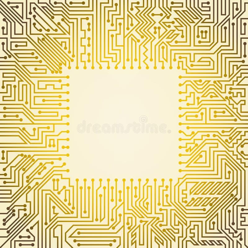 Fond de carte mère avec la puce des nuances d'or et blanches illustration stock