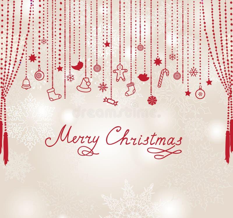 Fond de carte de neige de Joyeux Noël avec le lettrage manuscrit illustration stock
