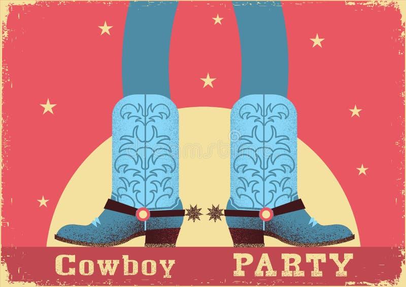 Fond de carte de partie de cowboy avec des jambes de cowboy dans les bottes occidentales illustration libre de droits