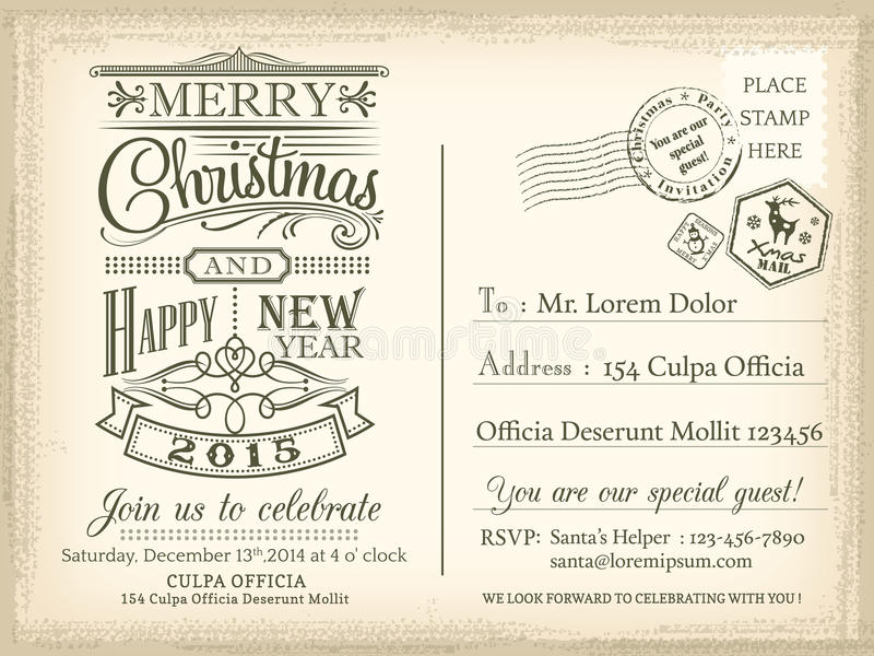 Fond de carte postale de vacances de Noël et de bonne année de vintage illustration stock