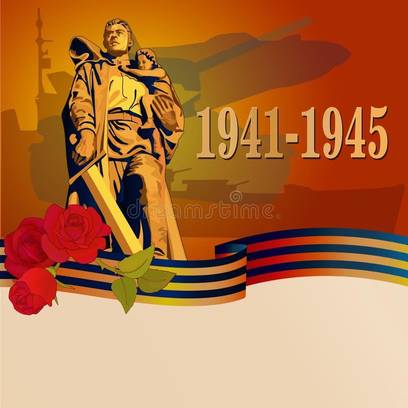 Fond de carte de Victory Day avec le soldat soviétique photo stock