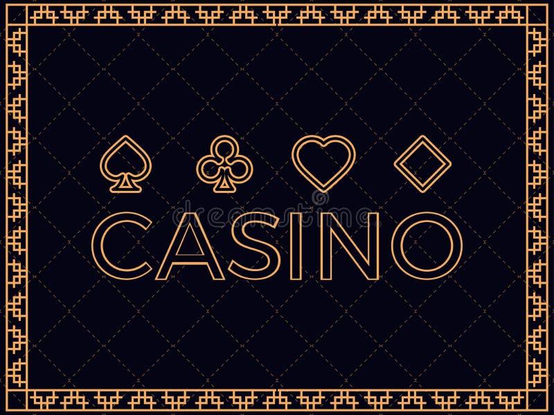 Fond de casino avec des costumes de cadre et de carte d'art déco Concevez un calibre pour des invitations, des tracts et des cart illustration de vecteur