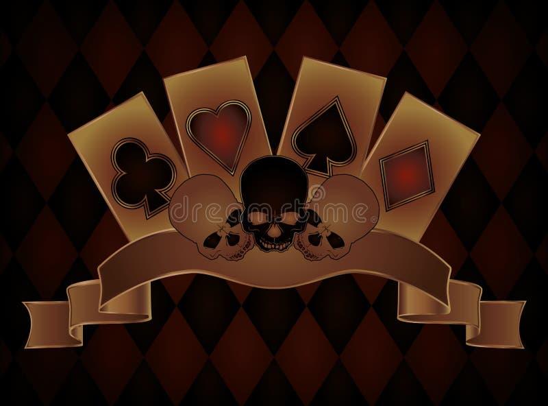 Fond de casino avec des crânes et des cartes de tisonnier illustration stock