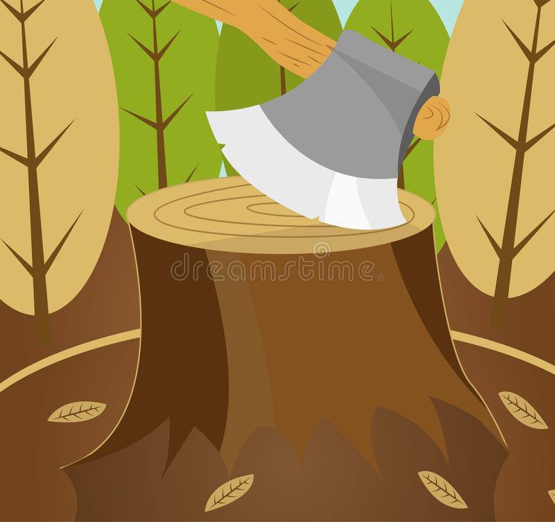 Fond de catastrophe de coupe de forêt illustration stock