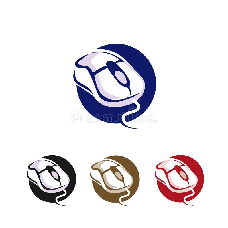 Fond de cercle de vecteur d'icône de clic de souris d'ordinateur illustration de vecteur