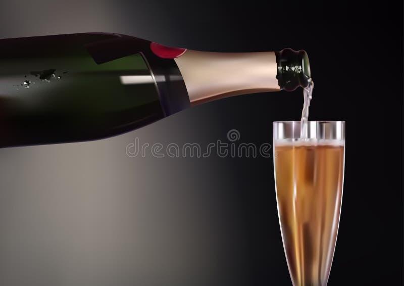 Fond de Champagne Bottle et de verre à vin illustration de vecteur