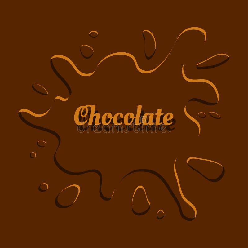 Fond de chocolat avec l'éclaboussure, emballage de calibre Vecteur illustration stock