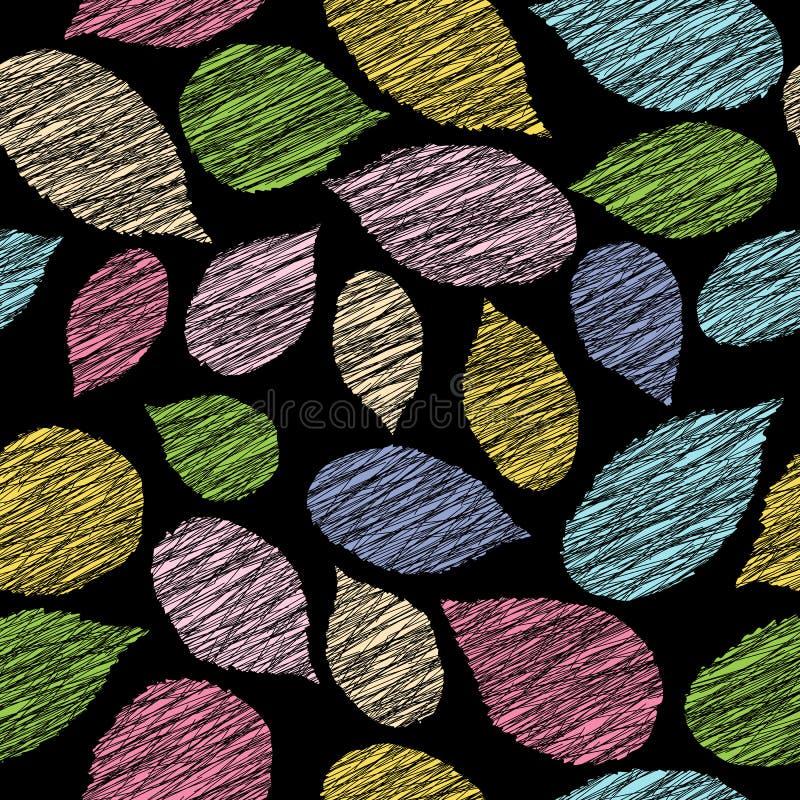 Fond de chute avec les feuilles rayées de framboise Modèle sans couture de contraste Seul arbre congelé illustration de vecteur
