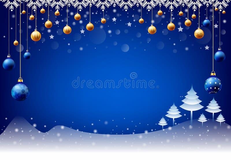 Fond de chute de neige de boule de Noël de bonne année, boîte de saisie des textes, fond bleu illustration libre de droits