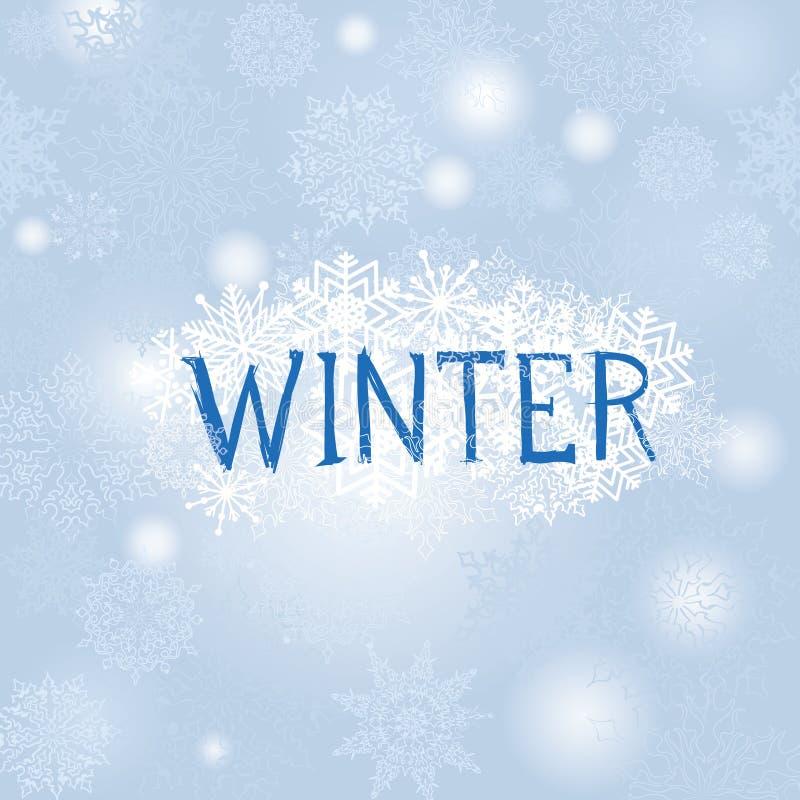 Fond de chutes de neige de Noël Carte de voeux de neige de vacances d'hiver illustration de vecteur
