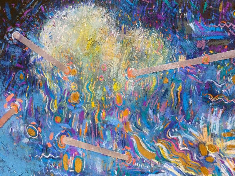 Fond de ciel d'or d'expressionisme Texture de peinture à la mode illustration stock