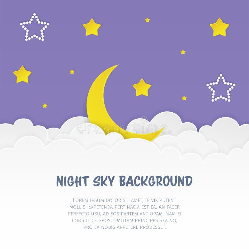 Fond de ciel nocturne avec des nuages, des étoiles et le croissant Musardez avec des étoiles de blanc et de jaune sur le fond nua illustration stock