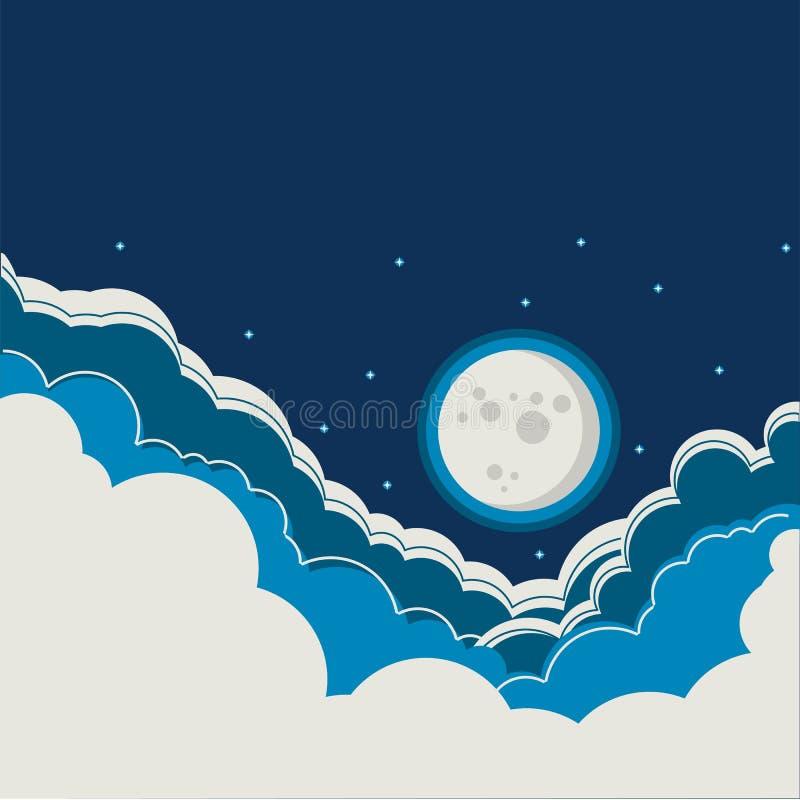 Fond de ciel nocturne avec la pleine lune et les nuages illustration de vecteur