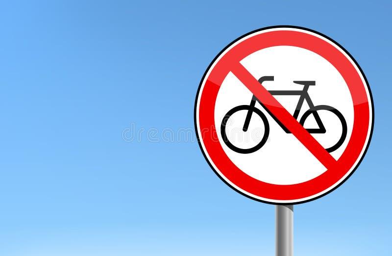 Fond de ciel de signe de vecteur interdit par bicyclette rouge illustration de vecteur