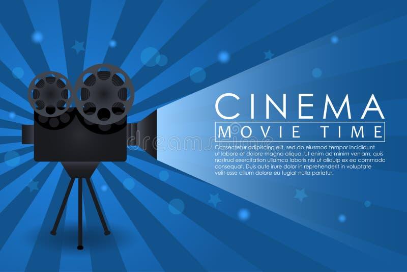 Fond de cinéma, bannière heure de projection du film avec le rétro appareil-photo Affiche abstraite de la publicité pour le théât illustration de vecteur