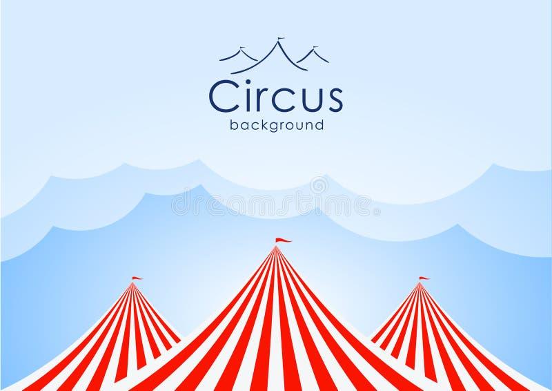 Fond de cirque avec le ciel bleu, les nuages et les tentes illustration stock