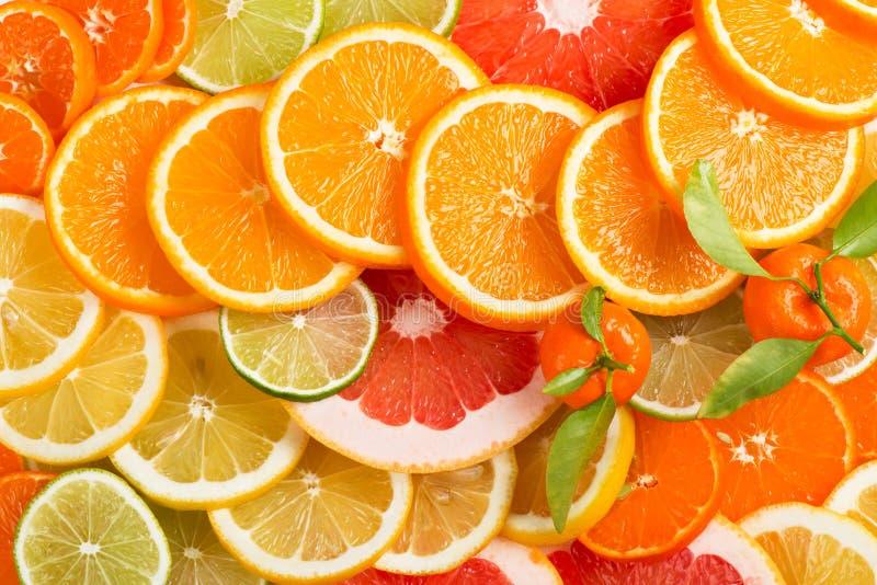 Fond de citron Variation des tranches de fruits photos libres de droits