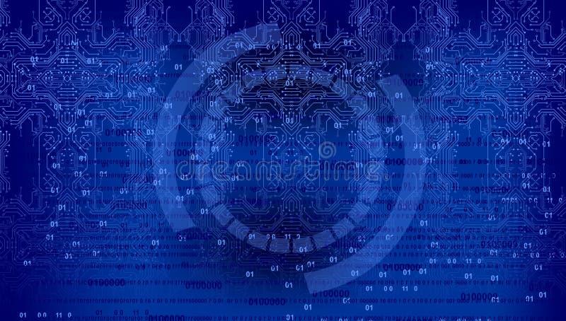 Fond de code binaire, fond abstrait de technologie de Digital Java, codage illustration stock