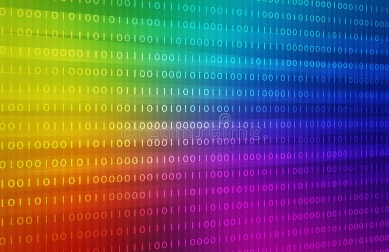 Fond de code binaire d'arc-en-ciel fond d'image d'illustration illustration libre de droits