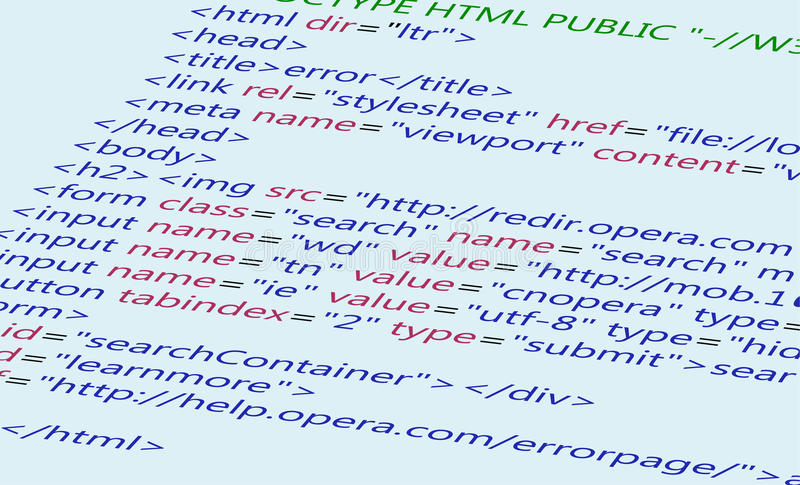 Fond de code de HTML de Web illustration libre de droits