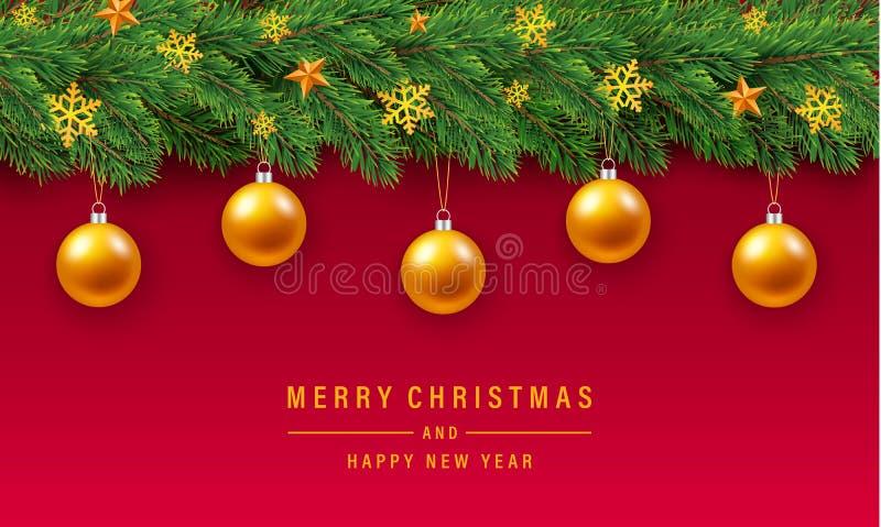 Fond de concept de boule d'or de Joyeux Noël, style réaliste illustration libre de droits