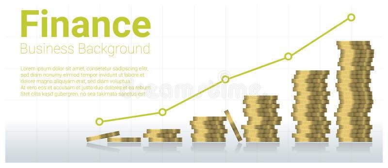 Fond de concept d'affaires et de finances avec des piles de pièces de monnaie illustration stock