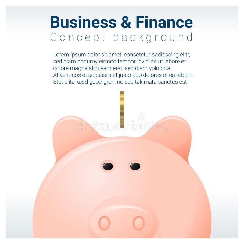 Fond de concept d'affaires et de finances avec la tirelire illustration de vecteur