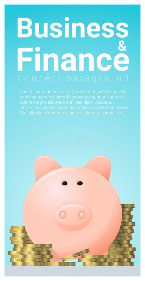 Fond de concept d'affaires et de finances avec la tirelire illustration stock