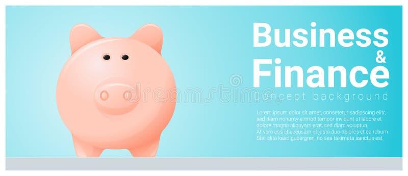 Fond de concept d'affaires et de finances avec la tirelire illustration libre de droits