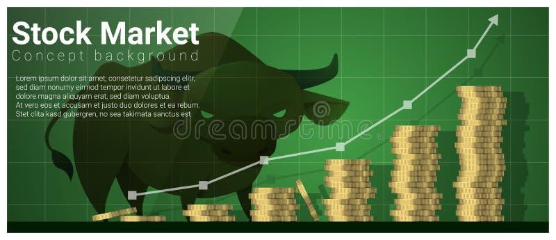 Fond de concept d'affaires et de finances avec le marché boursier illustration stock