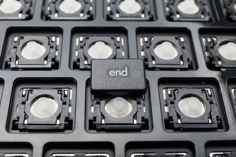 Fond de concept d'ordinateur, bouton d'extrémité photos stock