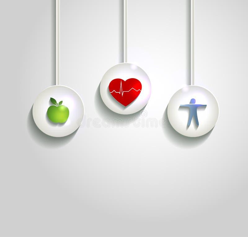 Fond de concept de bien-être, soins de santé de coeur illustration stock