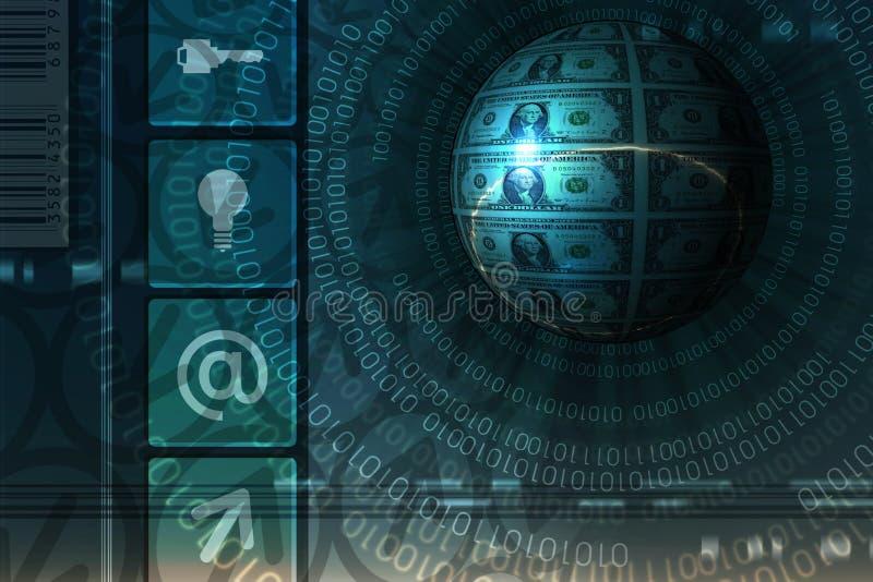 Fond de concept de commerce électronique - bleu illustration de vecteur