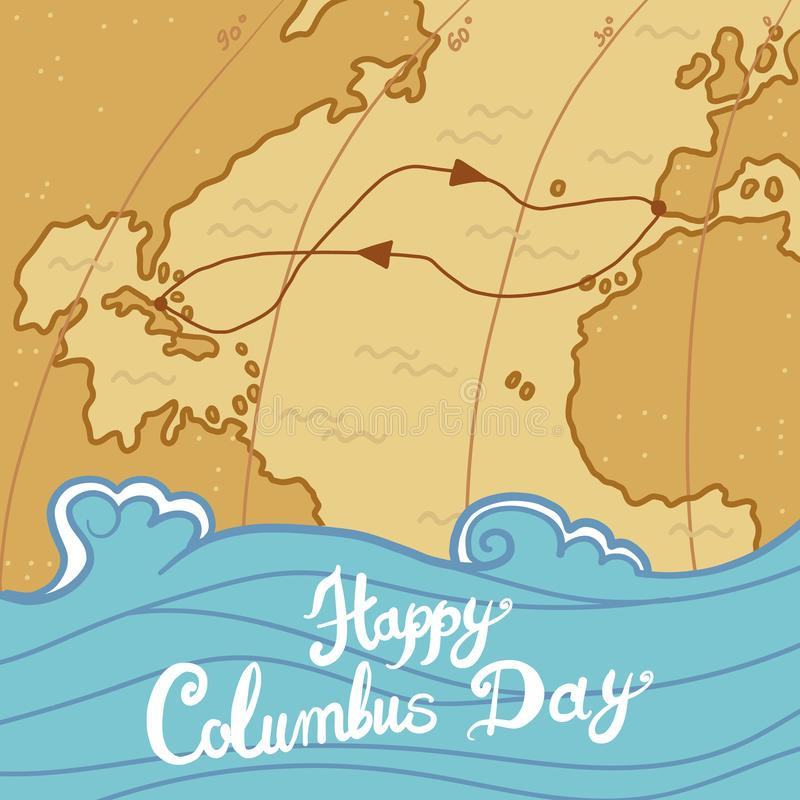 Fond de concept de jour de Columbus, style tiré par la main illustration de vecteur